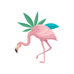 Beautiful flamingo and leaves of two tropical plants. Bird with gentle pink feathers, long neck and legs. Flat vector design