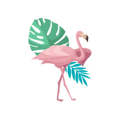 Beautiful pink flamingo with palm tree and monstera leaves. Exotic bird. Flat vector for textile, postcard or summer poster