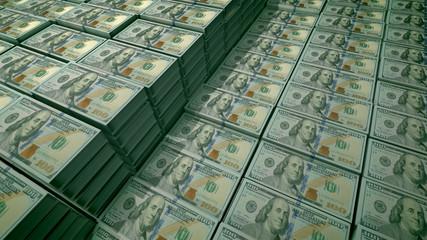 100 dollar bills in packs in a bank deposit