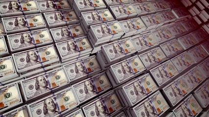 Bundles of 100 dollar bills in a stongbox