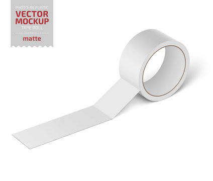 White glossy cello tape roll. Realistic vector.