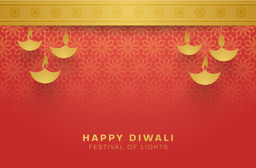 Red Happy Diwali background for Festival of lights.