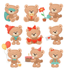Set of adorable teddy bears in different actions. Flat vector for greeting card or children book
