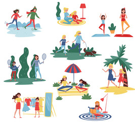 Flat vector set of happy mothers with daughters in different actions. Moms spending time with their kids at home and outdoor
