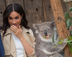 The Duchess of Sussex meets a Koala called Ruby during a visit to Taronga Zoo in Sydney on the first day of the Royal couple's visit to Australia