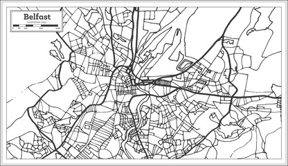 Belfast Ireland City Map in Retro Style. Outline Map.