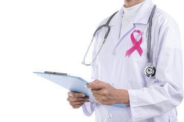 Doctor woman with pink ribbon on her chest, supporting symbol of breast cancer awareness and international women day campaign.