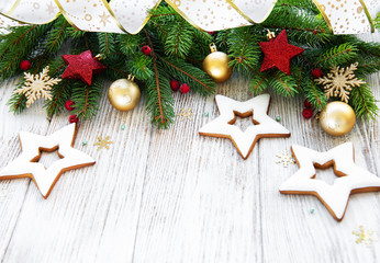 Christmas decoration with cookies on a old wooden background