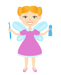 Tooth Fairy with toothbrush and toothpaste isolated on white background