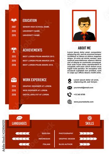 A4 Curriculum Vitae Resume Design Template Vector Stock Image