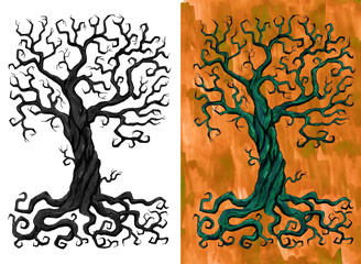 Mysterious scary tree with branches and roots isolated and against textured background. Hand drawn doodle graphic illustration with fantasy and mystic objects