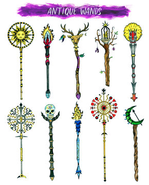 Antique magic wands isolated on white. Hand drawn doodle graphic illustration with fantasy and mystic objects