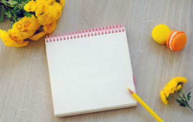 notebook with flowers, botanical, make a list, concept