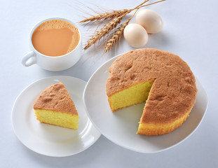 Plain sponge Cake, A  firm yet well-aerated sponge structure made with flour, baking soda, sugar, butter and eggs