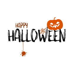 Happy halloween party title logo template. Spider and web