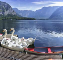 Paddle boats for rent on Lake Hallstatt , Austria