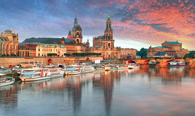 Dresden panorama at sunset, Germany