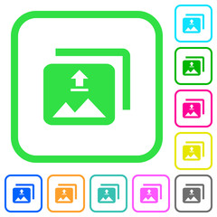 Upload multiple images vivid colored flat icons