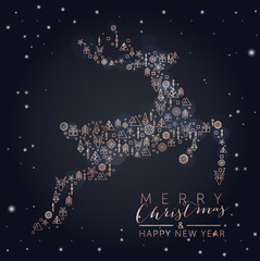 Christmas Reindeer with geometric elements