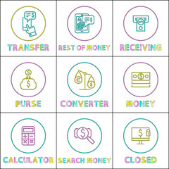 Wall Mural - Operation with Money Online Linear Bright Icons