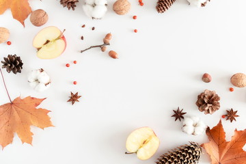 Autumn composition. Frame made of orange leaves, cotton flowers, pine cone, anise star, berries, nuts on white background. Autumn, fall concept. Flat lay, top view, copy space