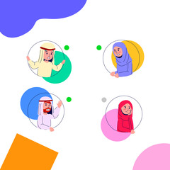 Group Chat, Arabian Young Teen on Round Hole Illustration Colorful Flat Vector