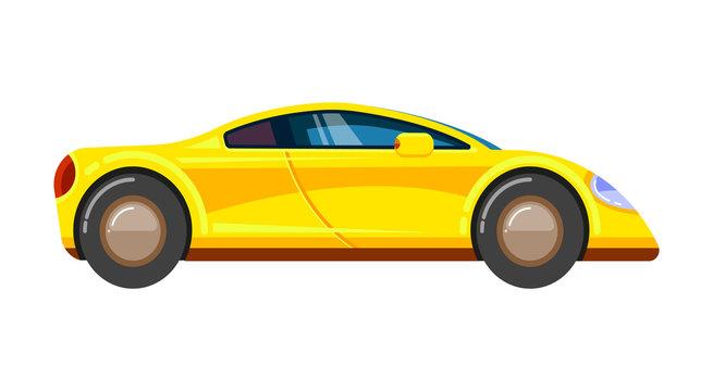 Yellow race car. Racing rally vehicle speed