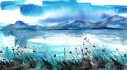 Watercolor painting. Nature, mountains, countryside, blue silhouette of mountains. blue sky, clouds, wild grass, plants. Postcard, picture, poster, logo.