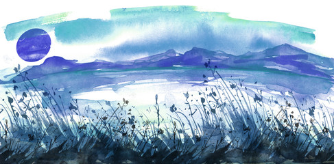 Watercolor painting. Nature, mountains, countryside, silhouette of mountains. blue sky, clouds, wild grass, plants. Postcard, picture, poster, logo.