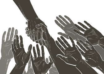 Helping hand concept hands taking each other vector line illustration