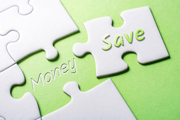 The Words Save And Money In Missing Piece Jigsaw Puzzle