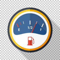 Fuel gauge icon in flat style on transparent background