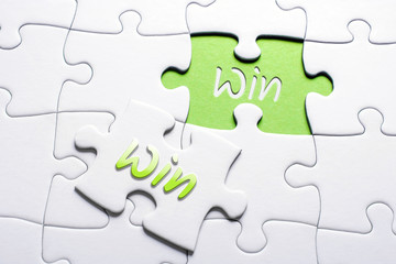 The Words Win And Win In Missing Piece Jigsaw Puzzle, Win-Win Situation Concept