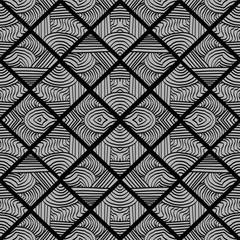 Vector tribal hand drawn seamless pattern with stripes line art deco style.