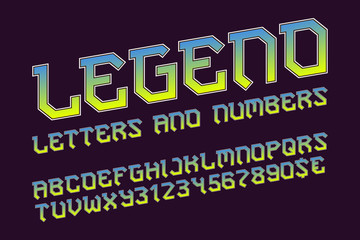 Legend alphabet with numbers and currency signs. Stylish rocker font.