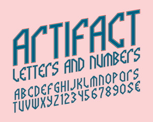 Artifact alphabet with numbers and currency symbols. Mythological style font.