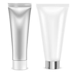 Cream tube. Silver and white container