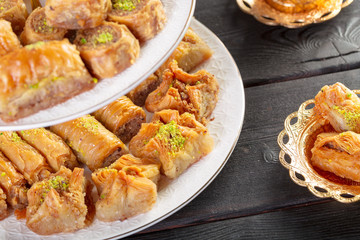 traditional dessert baklava,well known in middle east and delicious