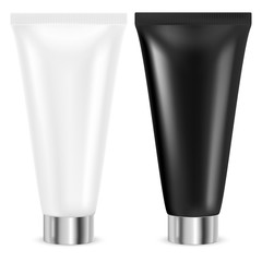 Cream tubes. Black and white containers