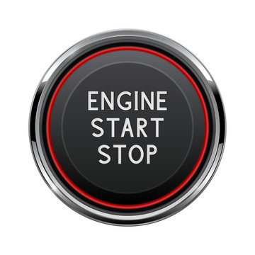 Engine start stop button. Car dashboard element