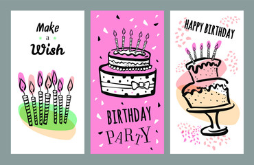Set of birthday card design templates with cakes and candles. Hand drawn cartoon vector sketch illustration