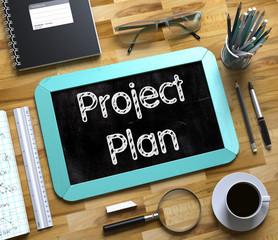 Project Plan on Small Chalkboard. 3d Rendering.