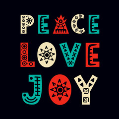 Peace, Love, Joy. Christmas greeting card. Scandinavian style