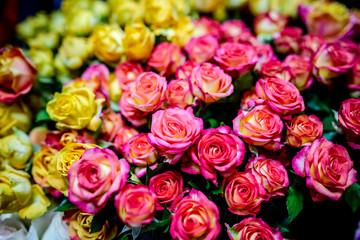 bouquet of beautiful flowers in a flower shop