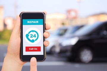 """修理 車とスマートフォン """"Repair"""" Car and smartphone"""