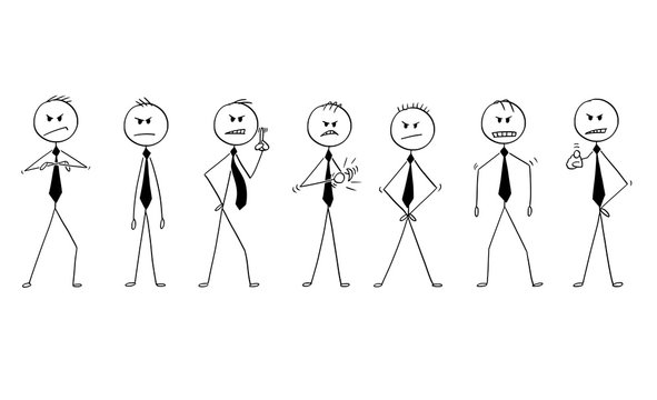 Cartoon stick drawing conceptual illustration of group or team of businessmen or politicians in angry poses. They are facing camera and showing different expression of anger.