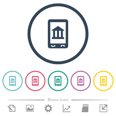 Mobile banking flat color icons in round outlines