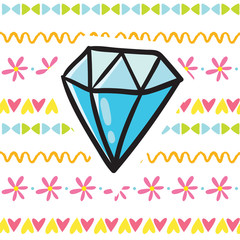 Cute cartoon shining diamond illustration