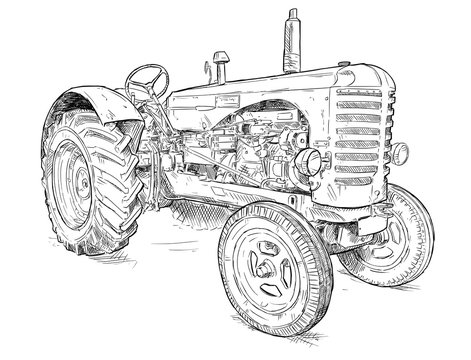 Vector artistic pen and ink drawing of old tractor. Tractor was made in Scotland, United Kingdom in between 1954 - 1958 or 50's.