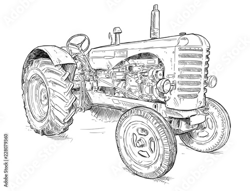 Wall mural Vector artistic pen and ink drawing of old tractor. Tractor was made in Scotland, United Kingdom in between 1954 - 1958 or 50's.